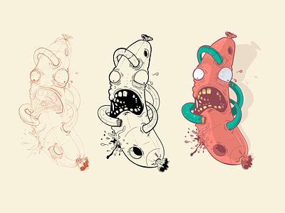 Process apple pencil procreate drawing muzli sketching process linework sketch ted pioli character design ipad pro artwork art strange folks pro create monster creature illustration