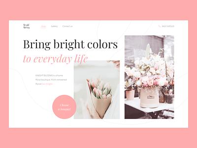 Design concept for the floristry store website redesign pink flower website ui