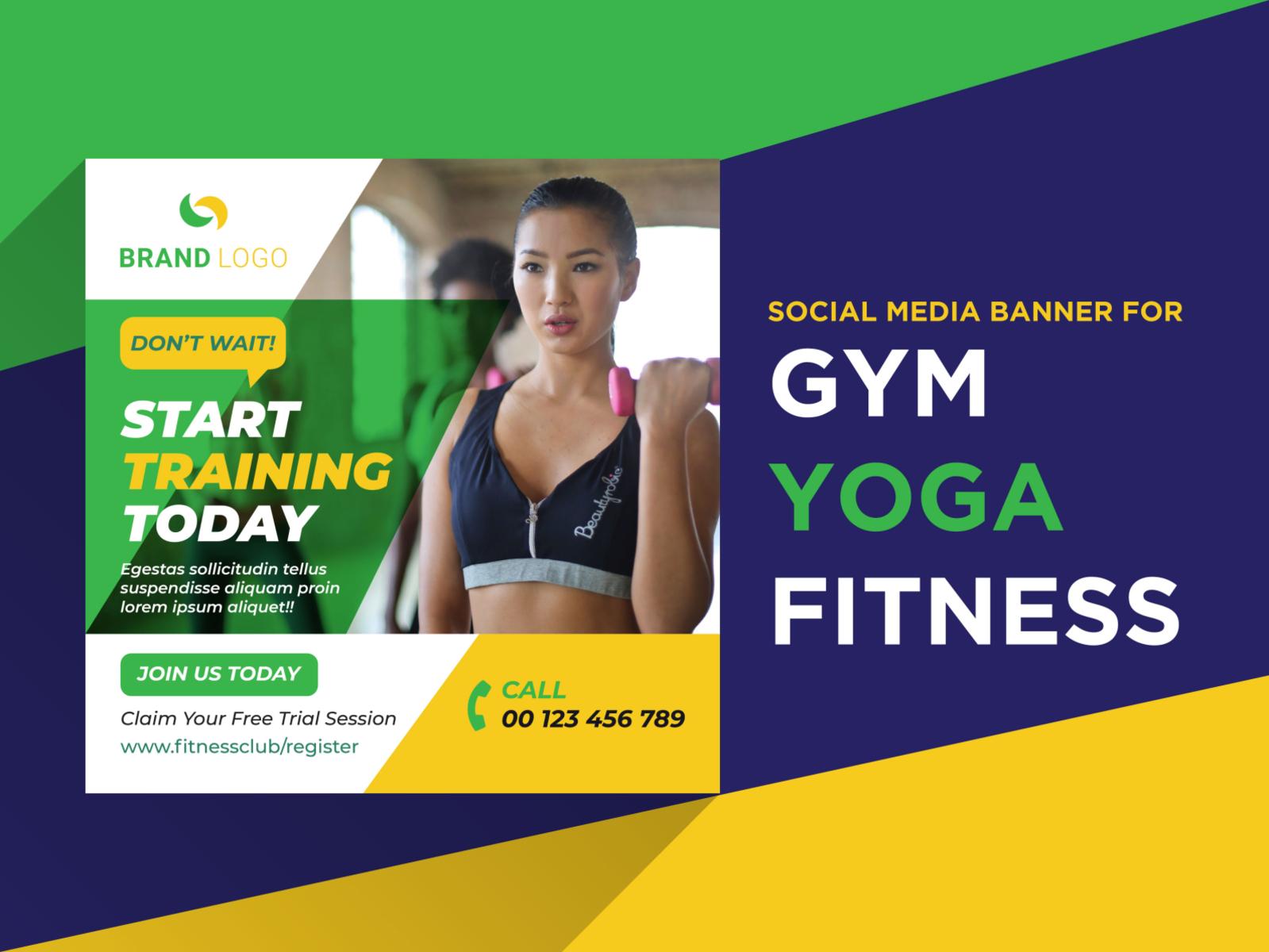 Social Media Banner For Gym Yoga Fitness By Md Rakib Hosen On Dribbble