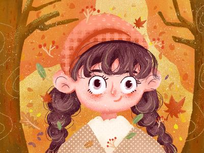 autumn girl illustrations ui web app design illustration