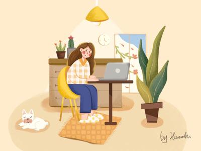 在家工作的日常 girl home dog web design illustrations illustration