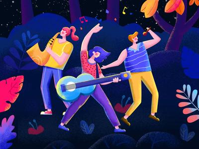Forest Music Festival singing band music web illustration app ui design