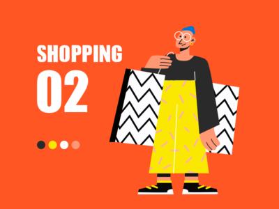 Shopping icon web app ui illustration design