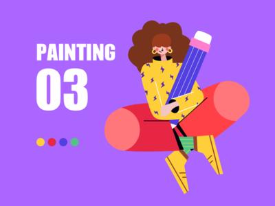 painting girl app web ui illustration design