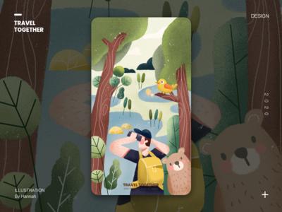 travel together ux typography animation icon vector web app ui design illustration