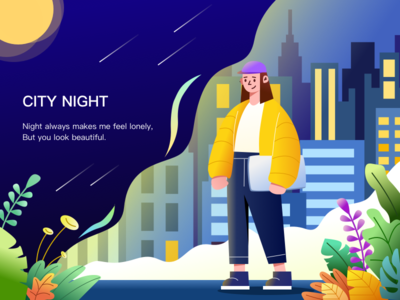 City night web ui illustrations design illustration