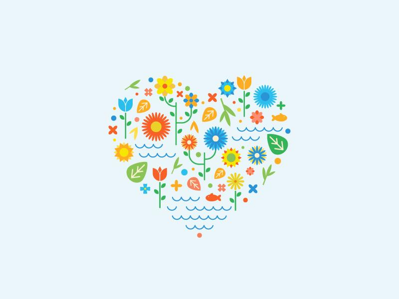 Flowers flowers heart love vector flat rose illustration