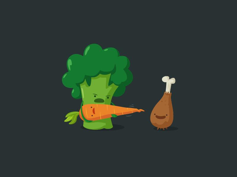 Go Away!!! brocoli carrot vegetables chicken vector cartoon character war oneyearofdesign cute