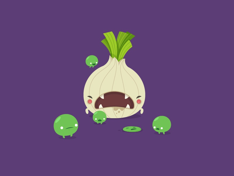 The Onion  onion peas vegetables monsters characters funny cartoon vector cute illustrations oneyearofdesign