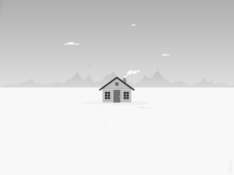 Lonely Cabin cabin winter snow white north house landscape vector