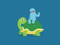 Riding a turtle