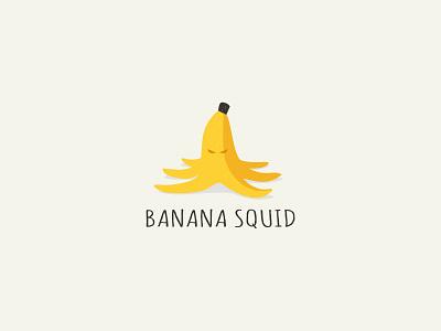 Banana Squid  squid banana octopus fruit logo yellow vector animal