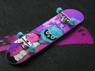 Loopowl skateboard character illustration miami blood photoshop product design product mockup merch games loopowl owl skateboard skate