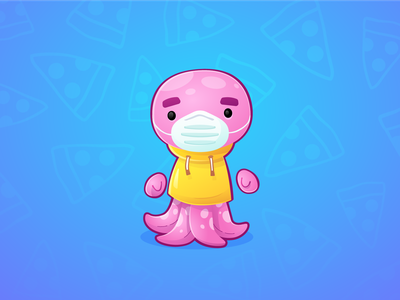 Octofuss game pandemic food pizza supermarket mask covid game character illustrator illustration deewehmeyer character octopus