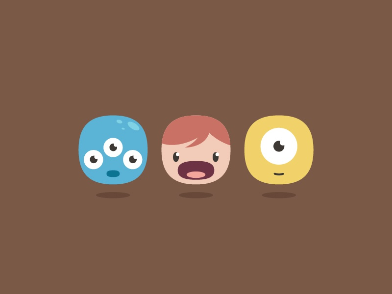 Cute Faces faces expressions monsters cute kid funny vector icons