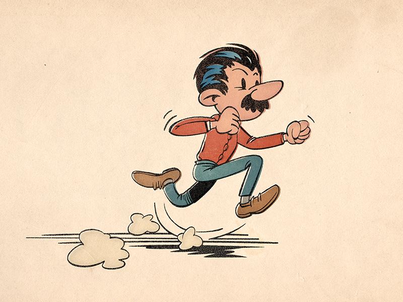 Running retro vintage old cartoon comic running character spirou ink grunge paper moustache