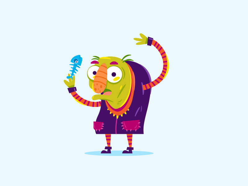 Who ate my fish? vector character cartoon fishbone fish monster old illustrations