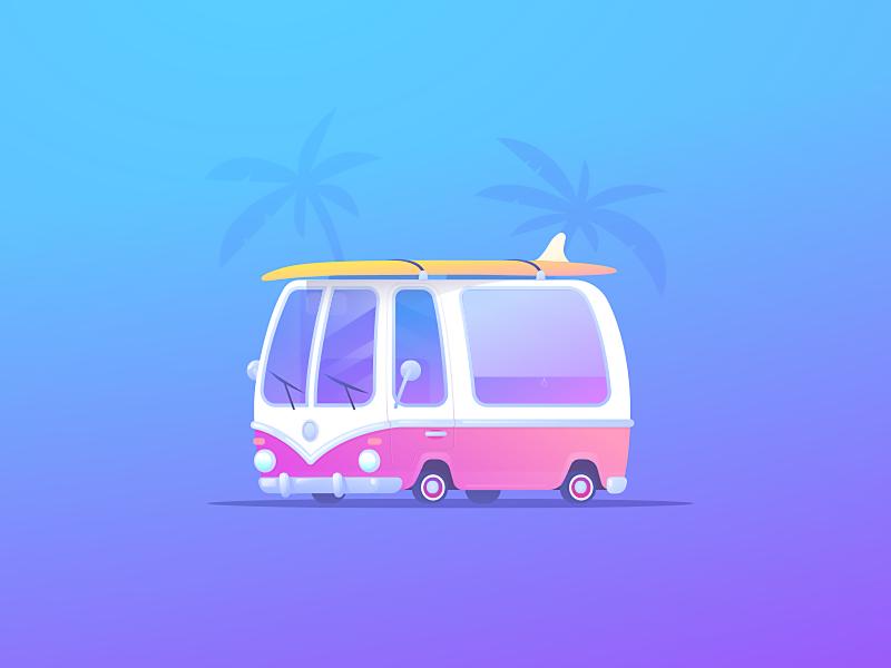 Surf Roadtrip wv illustrator palm trees vector gradients summer car van westfalia standup paddle board surf