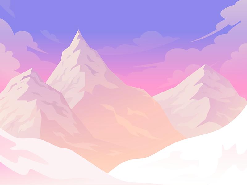 Mountains exploration summit illustration gradient vector alps mountains landscape