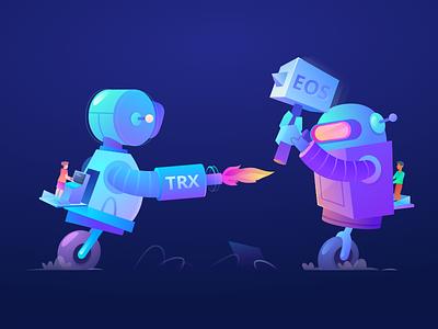 Fighting Robots blockchain sketchapp vector robots algotrading cryptotrading crypto theoceanx