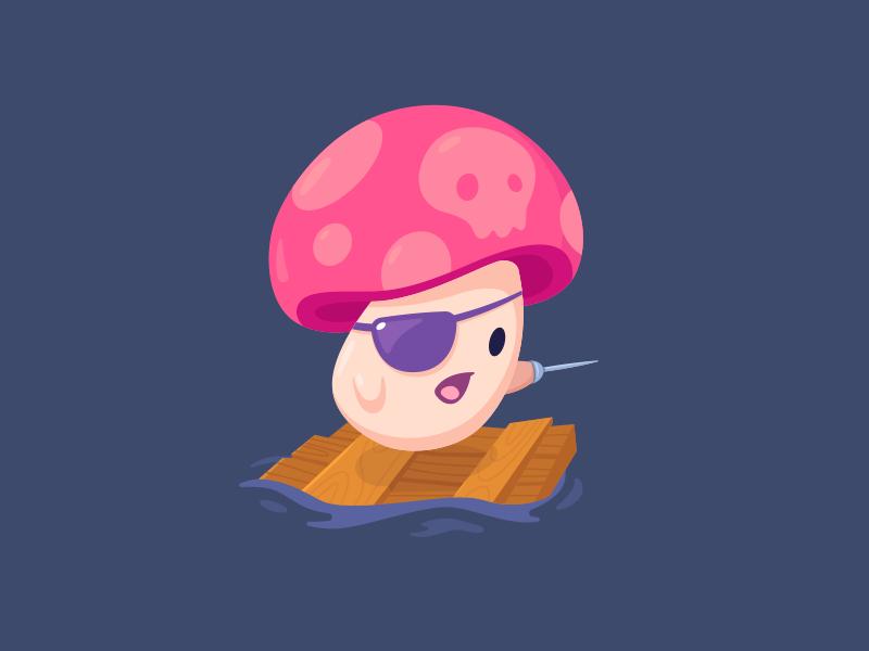 Mushroom Pirate raft deewehmeyer illustrator vector fighting kawaii cute pirate champignon mushroom