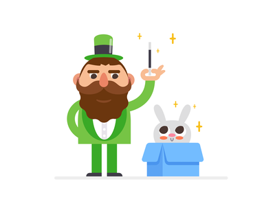 Magician flat simple cute illustrator magic rabbit vector magician