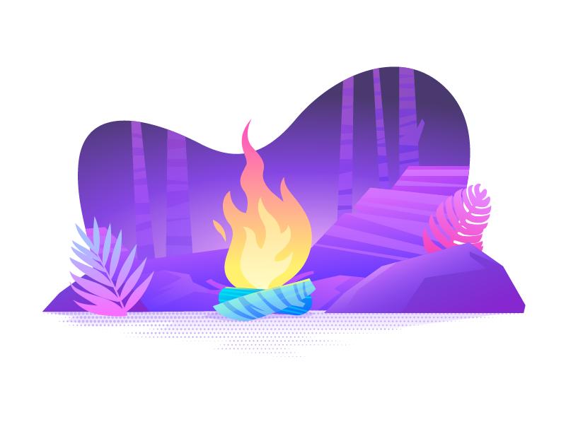 Bonfire wood forest illustrator purple landscape vector fire bonfire gradient