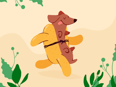 Running hotdog procreate bun wiener wurst funky illustration running sausage dog hotdog