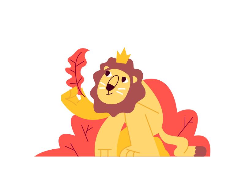 Lion King flat illustrator vectorart vector children kids kawaii cute illustration character cat king lion