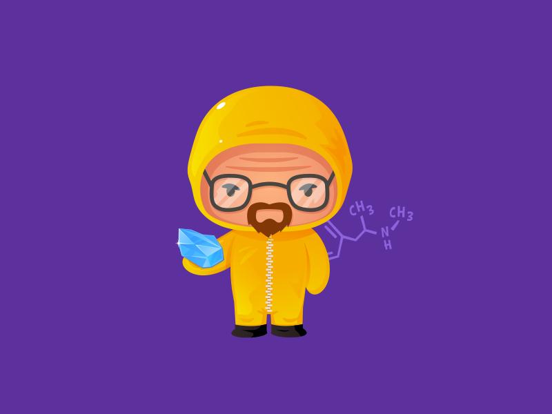 Heisenberg illustrator kawaii cute funny character vectorart vector lab science crystal walterwhite breakingbad meth heisenberg