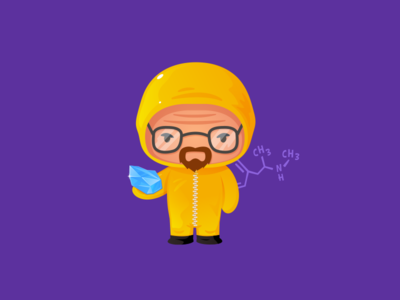 Heisenberg illustrator kawaii cute funny character vectorart vector lab science crystal walterwhite breakingbad meth heisenberg