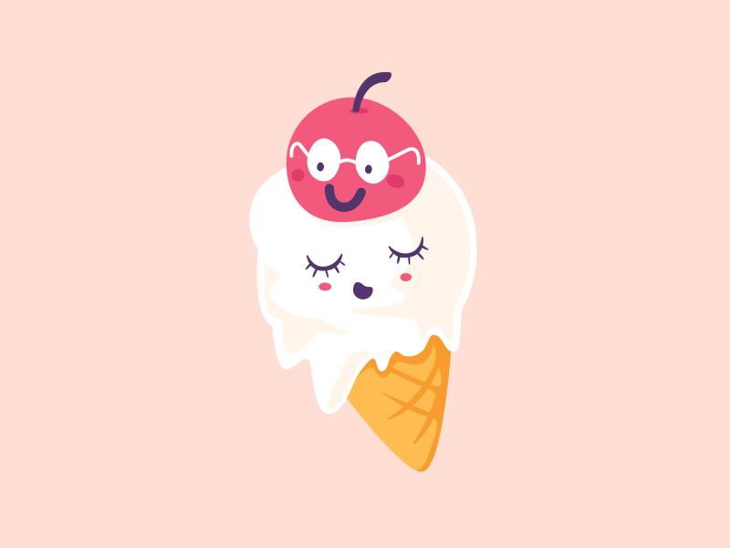 Ice Cream hot summer deewehmeyer characters illustrator cute kawaii vector cherryontop icecream