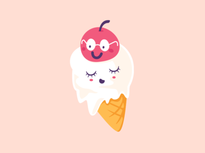 Ice Cream hot summer deewehmeyer characters illustrator cute kawaii vector cherryontop icecream
