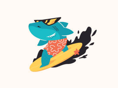 surfing shark waves swimsuit hawaiian surfing sea ocean surfboard fish flat funny character illustration vector shark surf