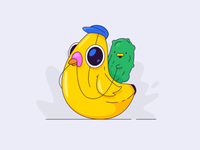 Pickle riding a banana pigeon adobeillustrator kawaii character lines weird illustrator vector pickle banana bird pigeon