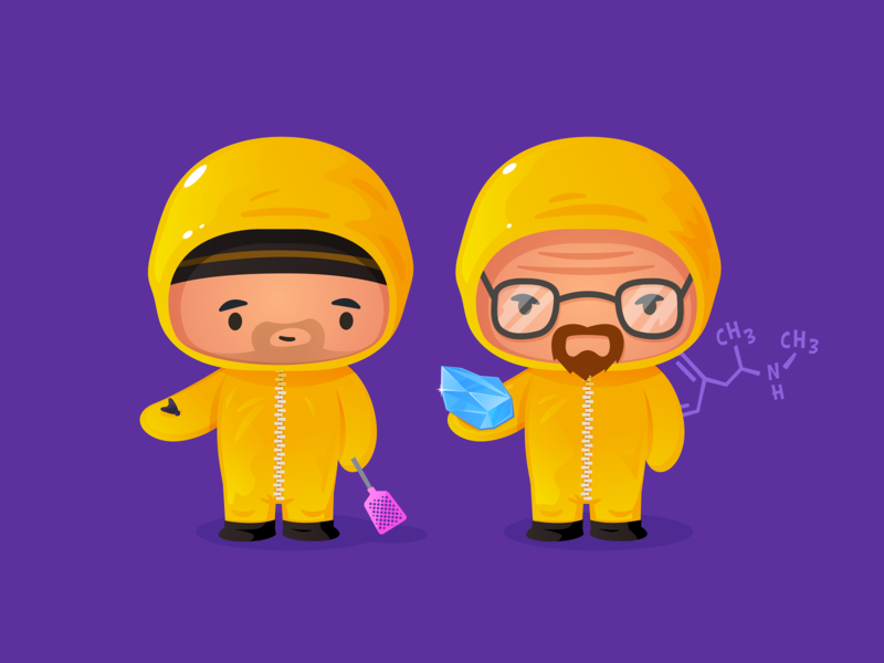 Breaking Bad kawaii cute character illustrator vector formula lab crystal meth fly netflix el camino breaking bad walter white jesse pinkman heisenberg