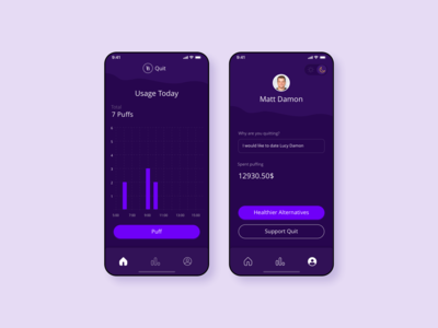 An App for Quitting Smoking / Night Mode