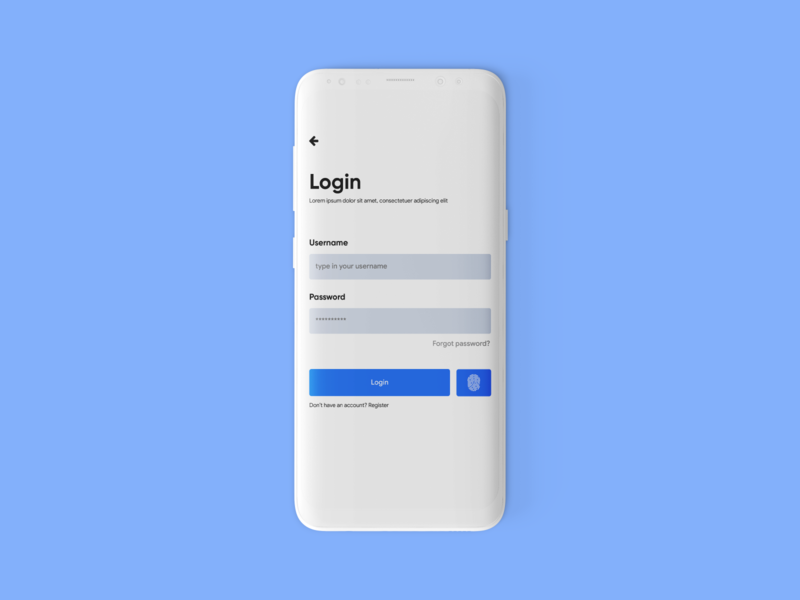 App login screen