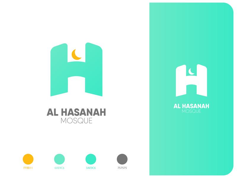 Al Hasanah Mosque green turqoise gradient typogaphy branding logo h islamic muslim mosque