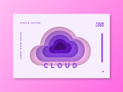 Paper Purple Background poster landingpage clouds cloud icon web app ux logo ui vector illustration design gradient branding