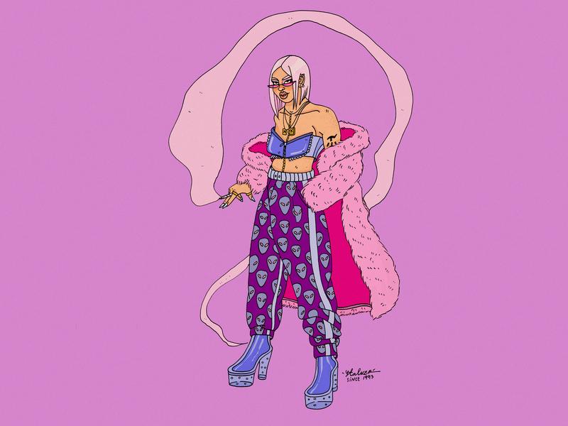 Alter Ego illustration agency fashion blog fashion art fashion blogger milenial pink hair ux ui design uipractice alien cosmic dribbble best shot debut fashion illustration editorial illustration fashion illustrator illustration dribbblers characterdesign artwork