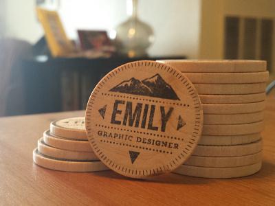 """Business """"Card"""" nickel wood stamp lockup mountains diy wooden nickel"""