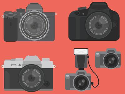 Illustrated Cameras lens shutter illustration illustrator vector emoji fujifilm nikon canon dslr camera