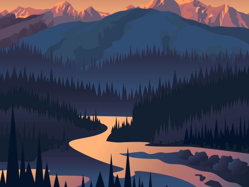 landscape illustration river mountains landscape