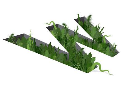 Wild W letter w illustration type 3d type lettering vine leaves amazon 3d typography letter w jungle