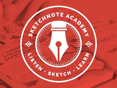 Sketchnote Academy Logo circle badge design illustration sketchnote graphic recording visual notes drawing sketchnotes ink pen pen logo