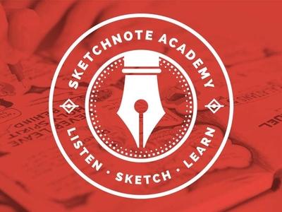 Sketchnote Academy Logo circle badge design illustration sketchnote graphic recording visual notes drawing sketchnotes ink pen pen logo