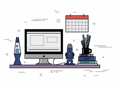 Desktop Illustration mac workspace productivity microphone lamp desk desktop vector illustration