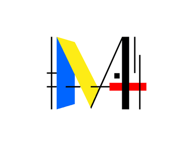 Mondrian Brand refresh redesign rebrand yellow blue red composition abstract icon pattern branding primary colors modern m logo primary de stijl mondrian