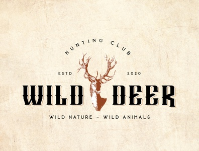 "Vintage logo design for Hunting Club called ""Wild Deer""."